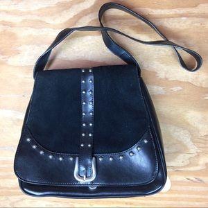 Black Leather & Suede Studded Shoulder Bag